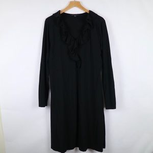 Brooks Brothers long sleeve ruffled neckline dress